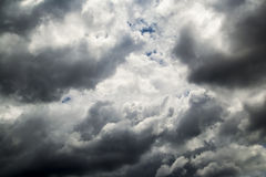 Storm Clouds. With Only A Few Small Patches Of Blue Sky Royalty Free Stock Image