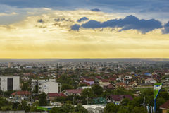 Storm clouds at sunset, above Craiova city Royalty Free Stock Images