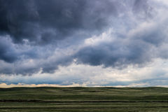 Storm clouds above field of green grass Stock Images