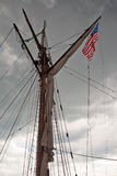 Storm clouds above the tallship Royalty Free Stock Image