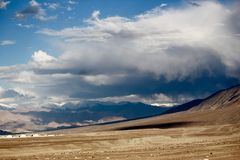 Storm clouds approaching Leh city Stock Images