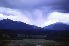 Storm clouds approaching with lots of rain. Storm clouds in Radium Hot Springs, British Columbia. Glad I`m here and not over there Stock Images