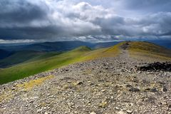 The summit of Skiddaw. Storm clouds approaching Skiddaw summit Stock Image