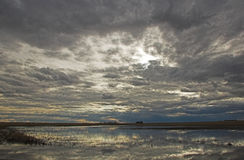 Storm Clouds Building. Storm clouds reflected in prairie pond at evening close to sunset royalty free stock image