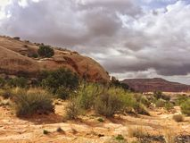 Somewhere in Utah, USA. Storm clouds building over desert landscape of Utah in the springtime Royalty Free Stock Images
