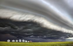 Storm Clouds Canada. Warning ominous skies Saskatchewan royalty free stock photo