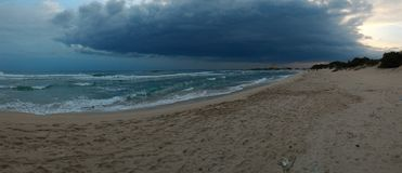 Storm clouds coming soon in Porto Cesareo. In Porto Cesareo is also nice a thunderstorm threatening comes Stock Photography