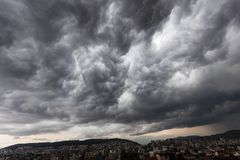 Storm clouds with contrast between dark gray and white. That threaten a heavy rain Stock Image