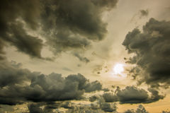 Storm clouds. Dark ominous grey storm clouds. Dramatic sky Royalty Free Stock Photos