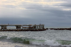 Storm and clouds at the dock in Versilia near Viareggio Royalty Free Stock Photos