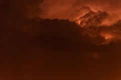 Storm Clouds. Clouds with flashing light of approaching storm in the Marmara region of the country Turkey. Lightning captured with long exposure shooting method Stock Images