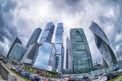 The storm clouds floating over the skyscrapers of the Moscow International Business Center (Moscow-City). Fisheye Royalty Free Stock Image