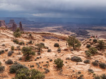 Storm clouds gather in desert Royalty Free Stock Photos