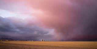 Storm Clouds Gather Great Basin Utah Near Milford. The farm fields are about to get some natural rainwater as a storm passes into the Great Basin area of Utah royalty free stock image