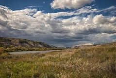 Storm clouds gather near Drumheller Alberta. Storm clouds near Drumheller, a town within the Red Deer River valley in the badlands of east-central Alberta royalty free stock photos