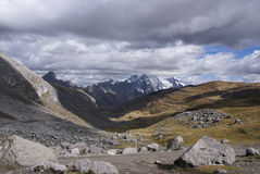 Storm clouds gather over broad glacial valley Royalty Free Stock Image