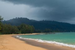 Storm clouds gathering over the jungle and beach of Khao Lak Stock Photography