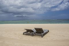 Storm clouds gathering over a tranquil beach Royalty Free Stock Photography