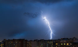 Storm clouds, heavy rain. Thunderstorm and lightning over the city. Stock Images