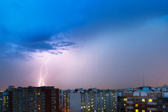 Storm clouds, heavy rain. Thunderstorm and lightning over the city. Stock Image