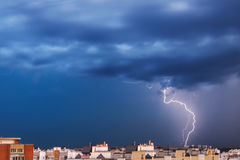 Storm clouds, heavy rain. Thunderstorm and lightning over the city. Royalty Free Stock Photography