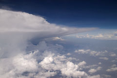 Storm clouds landscape. At 30.000 feet royalty free stock photo