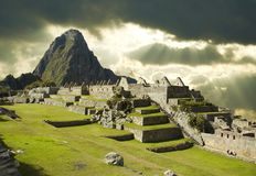 Storm clouds in Machu-Picchu Stock Images