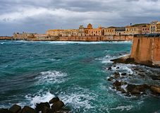 Storm clouds moved over the Island of Ortigia in Syracuse, Sicil stock photo
