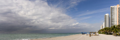 Storm clouds moving toward sunny Miami Beach Flori Royalty Free Stock Images