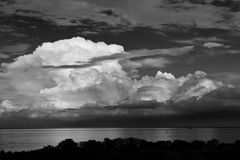 Storm Clouds Ove The Lake in Noir Stock Photo