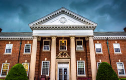 Storm clouds over a building at the Lutheran Seminary in Gettysburg, Pennsylvania. stock photos