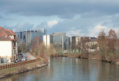 Storm clouds over European Parliament and Council  Royalty Free Stock Photo