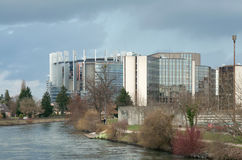Storm clouds over European Parliament and Council  Royalty Free Stock Photography