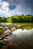 Storm clouds over Centennial Lake, at Centennial Park, in Columbia, Maryland. Storm clouds over Centennial Lake, at Centennial Park, in Columbia, Maryland stock image
