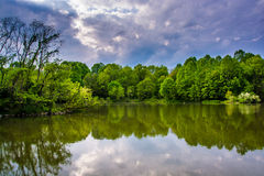 Storm clouds over Centennial Lake, at Centennial Park in Columbia, Maryland. Storm clouds over Centennial Lake, at Centennial Park in Columbia, Maryland royalty free stock photography