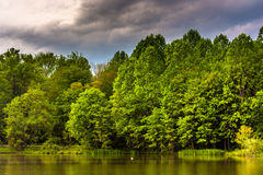 Storm clouds over Centennial Lake, at Centennial Park in Columbia, Maryland. Storm clouds over Centennial Lake, at Centennial Park in Columbia, Maryland stock photography