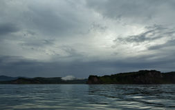 Storm clouds over coast of Kamchatka in Avacha Bay. Stock Photo