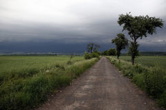 Storm clouds over country road. Scenic view of storm clouds over road receding into distance, countryside scene Royalty Free Stock Image