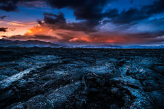Storm Clouds over Craters of the Moon Idaho Landscape. Lava Beds Crater of the Moon National Preserve after Sunset stock photography