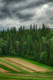 Storm clouds over the forest. Dark, storm clouds over the forest. Pieniny, Poland Stock Photo