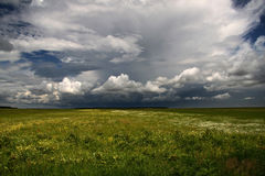 Storm clouds over green field Stock Photo