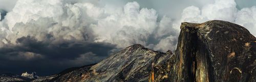 Storm clouds over Half Dome in Yosemite Stock Image