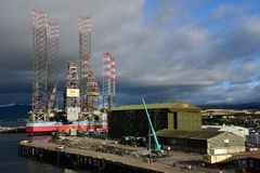 Storm Clouds over Invergordon Scotland Port royalty free stock photos