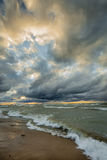 Storm Clouds Over Lake Huron Stock Photo