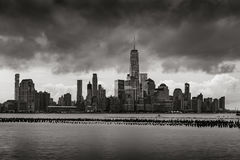 Storm Clouds over Lower Manhattan skyscrapers in Black & White. New York City stock photos