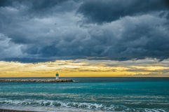 Storm Clouds over the Mediterranean at Sunset Stock Photos