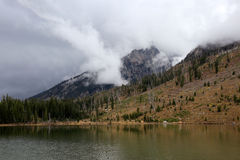 Storm Clouds Over Mountain Lake. A large thunderstorm rolls in over a beautiful mountain lake in Grand Teton National Park Stock Images