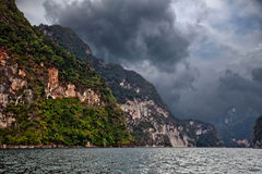 Storm clouds over the mountains and lake. Royalty Free Stock Photography
