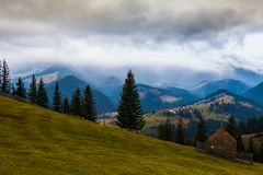 Storm clouds over the mountains Royalty Free Stock Photos
