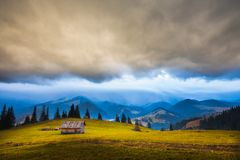 Storm clouds over the mountains Stock Photo